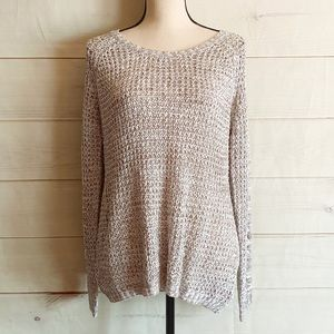 NWT Pink Rose Brown/White Knit Long Sleeve Sweater
